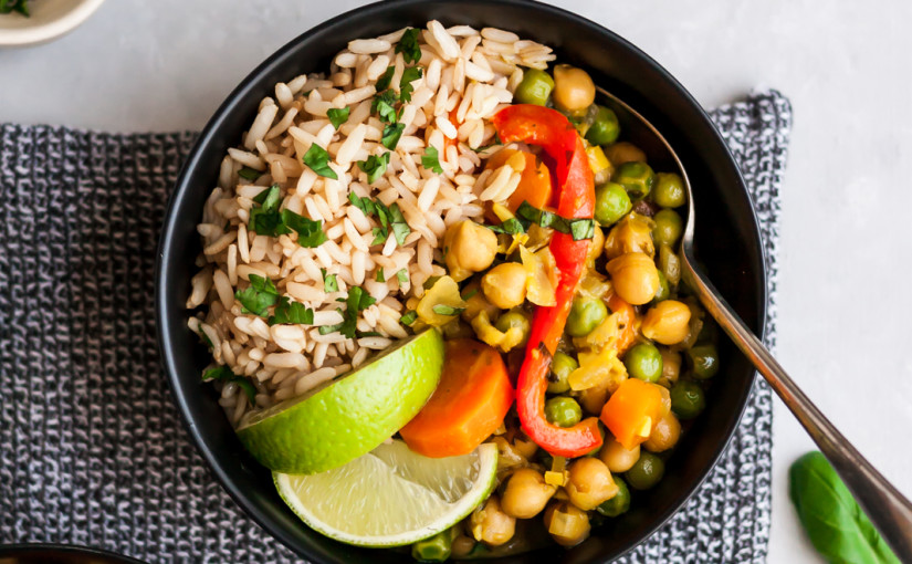 Lemongrass Chickpea Thai Green Curry with Toasted Coconut Brown Rice